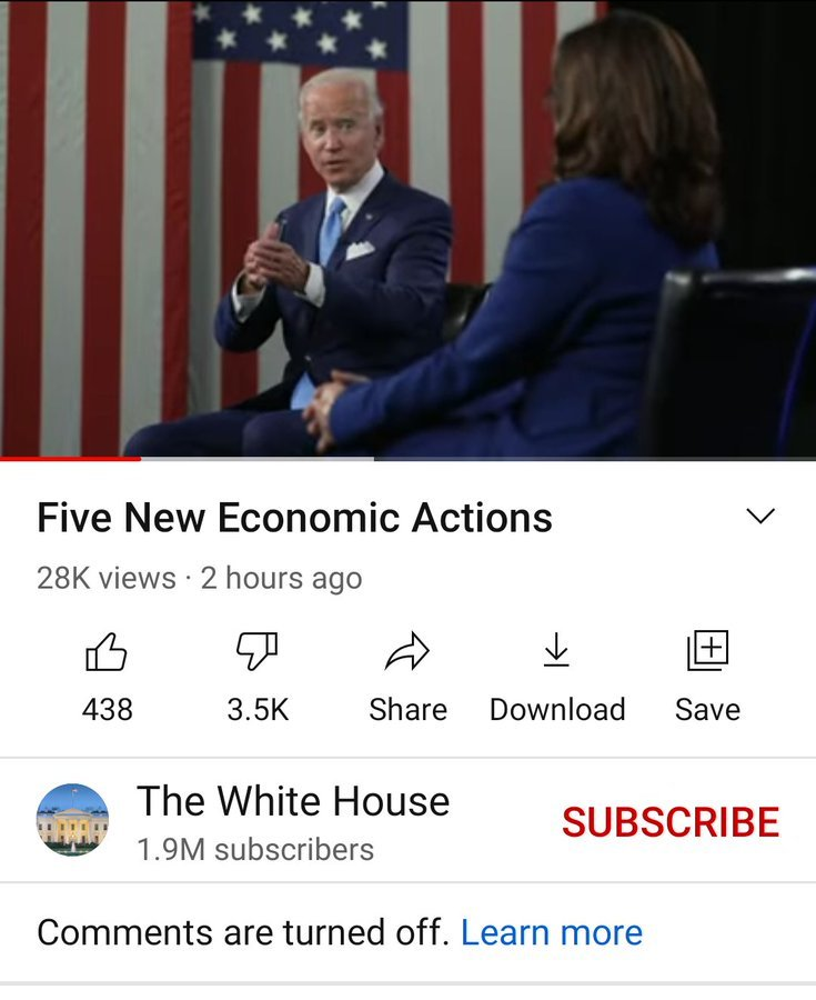It Appears YouTube Is Removing 'Dislikes' on Videos Because Biden Is Terribly Disliked