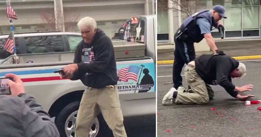 VIDEO: Police Arrest Old Man For Pulling Gun On Attacking Antifa Thugs In Salem, Oregon