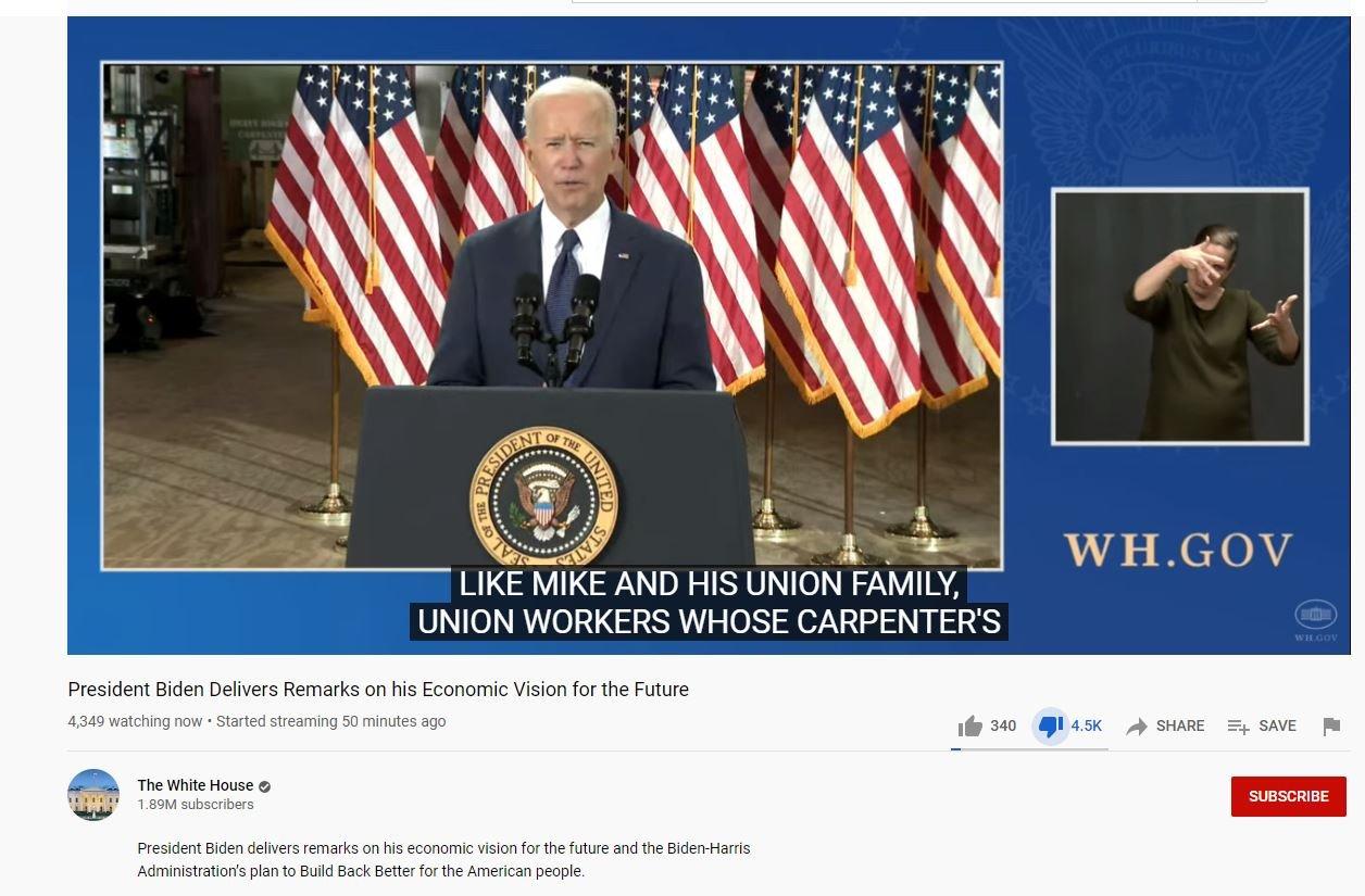 Only 4,300 Tune in to Watch Joe Biden Speak on His $2.25 Trillion Infrastructure Bill That Spends Only $157 Billion on Roads, Bridges, Airports