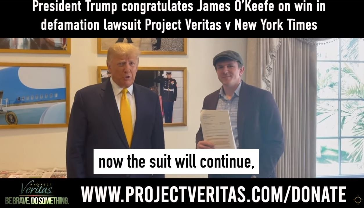 AWESOME! President Trump Congratulates Project Veritas on their Win in Defamation Lawsuit vs. New York Times (Video)