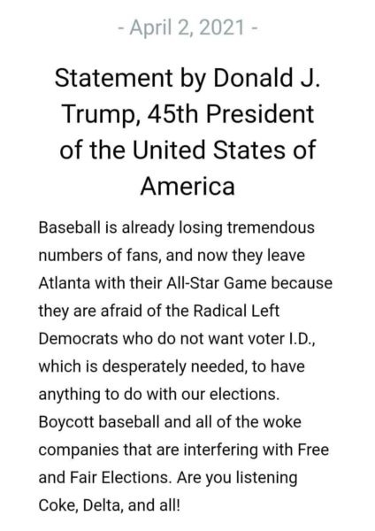 TRUMP: Boycott MLB, Woke Companies Interfering With Free and Fair Elections