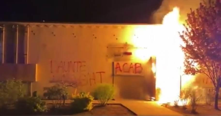 Far Left Terrorists Light Portland Police Union Building On Fire