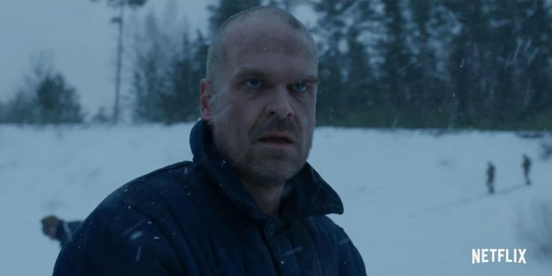 Stranger Things is filming, and it looks like Chief Hopper got in a fight
