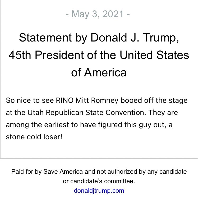 BREAKING: Trump Hilariously Trolls Mitt Romney After He Was Booed Off-Stage